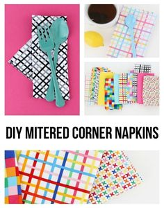 Are you ready to dress your dinner table in style? Dress up your table when you sew a rainbow of DIY mitered corner napkins in coordinating prints!