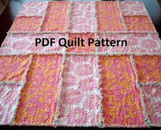 PDF Rag Quilt Pattern - Simple Reverse Rag Quilt - easy instructions with pictures tutorial Baby Rag Quilts, Strip Rag Quilts, Flannel Rag Quilts, Easy Quilts, Denim Quilts, Rag Quilt Patterns, Quilting Board, Quilting For Beginners, Quilt Tutorials