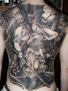 1e294fc45 Grey Ink Viking Warrior With Women Tattoo On Full Back Duck Tattoos, Hot  Tattoos,