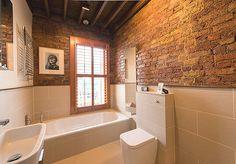 45 Amazing Ideas Farmhouse Bathroom Wall Art 56 50 Stylish Farmhouse Bathroom with Brick Wall Decor Inspirations 4 Attic Bathroom, Bathroom Renos, Bathroom Wall, Open Bathroom, Modern Bathrooms Interior, Bathroom Interior Design, Bathroom Designs, Brick Tiles Bathroom, Wall Tiles