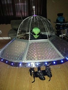 Coolest Alien in a UFO Costume for a Wheelchair... This website is the Pinterest of costumes