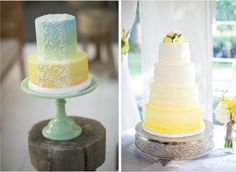seriously unusual ombre effect cakes  love the blue yellow green effect it's every hippies tie-dyed dream cake ;) love the lace effect icing over the ombre icing too. super cute. must have used some stencil cutter.   ombre lemon cute don't you love that silver stand?!~