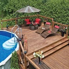 10 Popular Above Ground Pool Deck Ideas. This is just for you who has a Above Gr… - Pool Ideas Above Ground Pool Landscaping, Above Ground Pool Decks, Backyard Pool Landscaping, Above Ground Swimming Pools, Backyard Patio Designs, In Ground Pools, Diy Patio, Oberirdische Pools, Pool Deck Plans
