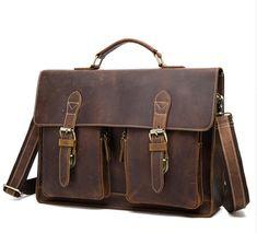 9d68efa78050 Crazy Horse Leather Briefcases for Document Totes Messenger Bag Men Sh -  AIYAYOO #leatherofficebagsformens Crazy