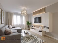 Фото дизайн интерьера гостиной из проекта «Интерьер двухкомнатной квартиры 54 кв.м. в современном стиле»