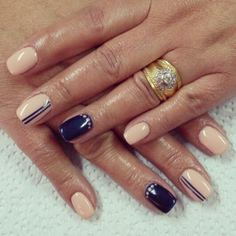 Nude and navy blue nails