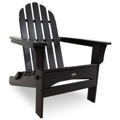 Cape Cod Charcoal Black Folding Patio Adirondack Chair