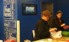 Here we see Laura, our Communications expert, examining our fresh ingredients for quality before turning them over to the Fox and Friends team for set up on Saturday October 19th!