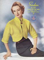 sirdar 1441 ladies vintage bolero knitting pattern 1950s