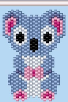 Koala Beading Pattern I needed to show you how to make a bracelet with natural stone and leather thread with … Peyote Stitch Patterns, Seed Bead Patterns, Beading Patterns, Beading Tutorials, Beaded Earrings Patterns, Bead Earrings, Motifs Perler, Beaded Banners, Peyote Beading