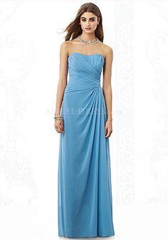 Floor Length Chiffon Strapless A line Sleeveless Asymmetric Waist Bridesmaid Gown