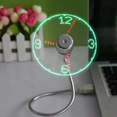 Flexible USB Clock LED Fan Watch Gadgets Office Desk Cooling Temperature Adjustable Display Fan for PC Laptop Desktop Gifts Office Gadgets, Usb Gadgets, Cool Gadgets, Electronics Gadgets, Kitchen Gadgets, Smart Home Appliances, Gadget Watches, Flexible Led Light, Real Time Clock
