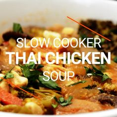 This Slow Cooker Thai Chicken Soup is loaded with creamy coconut milk, peanut butter, red Crock Pot Curry, Crock Pot Soup, Crock Pot Cooking, Thai Curry Soup, Coconut Curry Soup, Soup With Coconut Milk, Thai Coconut Curry Chicken, Thai Basil Chicken, Red Curry Chicken