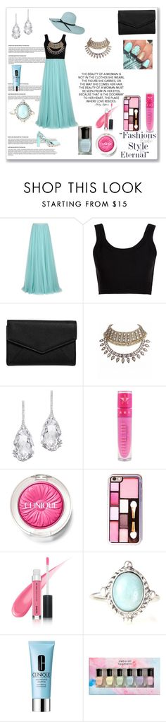 """Pastel blue"" by mahamejaz545 ❤ liked on Polyvore featuring beauty, Jenny Packham, Calvin Klein Collection, LULUS, Plukka, Jeffree Star, Clinique, Deborah Lippmann and Minna Parikka"