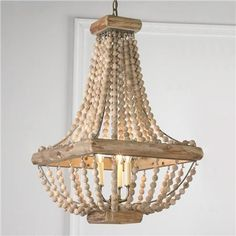 Wood Bead Chandelier- love the shape for the bedroom light fixture!
