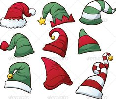 Christmas Hats — Vector EPS #cartoon #gradient • Available here → https://graphicriver.net/item/christmas-hats/6122400?ref=pxcr