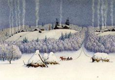 Картинка: Русская деревня зимой