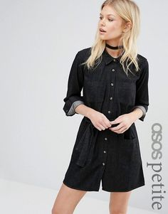 ASOS Petite   ASOS PETITE Denim Shirt Dress in Washed Black