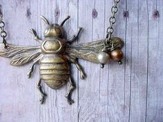 Honey Bee Necklace - Pollinator Pendant - Antiqued Brass with Pearls - Bumble Bee, Woodland - Gift Box. $26.00, via Etsy.