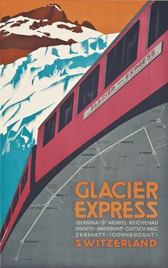 Find the best prices on Glacier Express Switzerland Swiss Suiss Schweiz Suisse Zermatt, St. Measures 10 x inches and save money. Vintage Ski Posters, Retro Poster, Poster S, Poster Prints, Andermatt, Train Posters, Railway Posters, Travel Ads, Train Travel