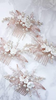 Rose Gold Bridal hair comb Rose Gold Bridal headpiece Bridal