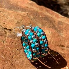 Leather Hoops Earrings Sterling Silver and Turquoise image 4 Leather Hoops Earrings Sterling Silver and Turquoise image 4 Boho Necklace, Boho Earrings, Necklace Set, Fleur Design, Bohemian Jewelry, Boho Jewellery, Skull Jewelry, Ethnic Jewelry, Bracelets For Men