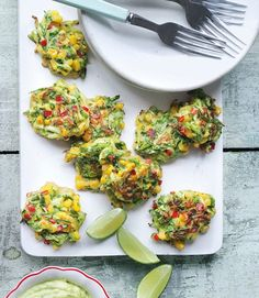 Corn and Courgette Cakes. Serve with Guacamole and Lime Wedges ( goes well with a cold, crisp Sauvignon Blanc)