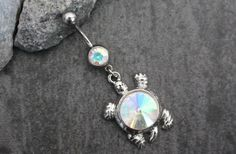 Turtle Navel Ring, Opal Belly Button Rings Jewelry, Navel Piercing, Belly Button Rings, Dangle Silver Hanging Tortoise Sea Shell Crystals