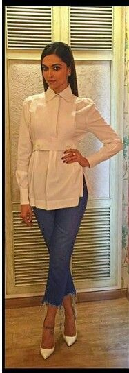 Deepika Padukone in white top and jeans for her movie Tamasha Promotion