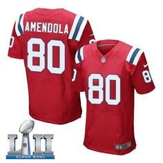 1a904bbd3 Men s Nike New England Patriots  80 Danny Amendola Stitched Red 2018 Super  Bowl LII Elite Jersey