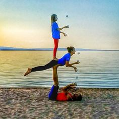 Bob and Trish, acro yoga, three person, juggling, bird sandwich, sunset, ashland, wisconsin, kids juggle, kids do acroyoga #birdass