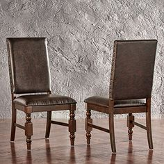 Modern Rustic Upholstered Accent Dining Chairs with Nailhead and Wood Legs (Set of 2) - Includes Modhaus Living Pen (Brown PU)