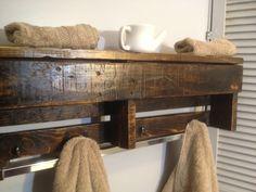 Kevin Davis Wood Work - Handmade Reclaimed Pallet Wood Shelf - Entry Organizer - Coat Rack - Bathroom Shelf - Dark Stain #etsy $65