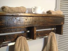 Handmade Reclaimed Pallet Wood Shelf - Entry Organizer - Coat Rack - Bathroom Shelf - Dark Stain. $65.00, via Etsy.
