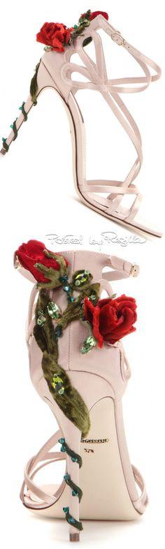 Dolce & Gabbana ~ pre-Fall Blush Satin Sandals w Rose Details 2015