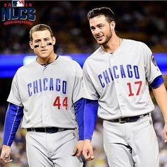 Kris Bryant and Anthony Rizzo are great friends and teammates. They are two of my favorite baseball players of all time. I hope me and my friend are as close as Anthony Rizzo and Kris Bryant Cubs Players, Baseball Players, Baseball Guys, Kyle Schwarber, Mlb Postseason, Cubs Win, Josh Donaldson, Go Cubs Go, Chicago Cubs Baseball