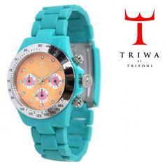 TRIWA(トリワ) クロノ グラフ リストウォッチ 腕時計 ターコイズ×オレンジ【送料無料】 wc-triwa-032