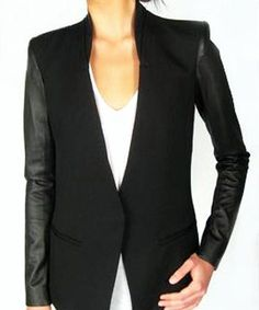 Black blazer with leather sleeves. I just got this jacket and I love you!