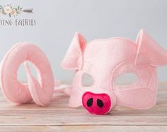 Apple the Pink Pig Mask and Tail for Pretend Play Costume