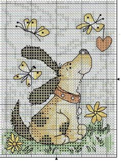 Dog w Butterflies - couldn't find chart - check to see source