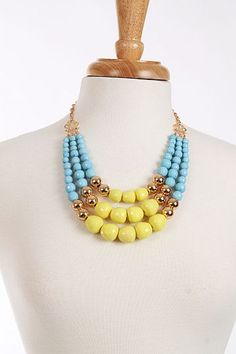 Triple Beaded Necklace, Yellow $21.00