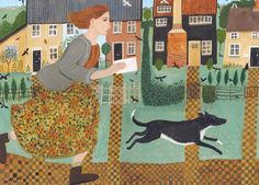 'Dash For The Post' By Artist Dee Nickerson. Blank Art Cards By Green Pebble.