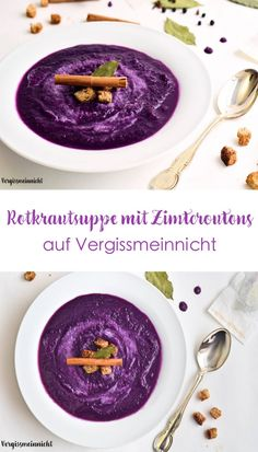 delicious red cabbage soup with winter spices from my mom Red cabbage soup with cinnamon croutons! The soup not only tastes very good and is reminiscent of w cabbage delicious Mom red soup spices winter winterbastelnkinder wintercoffee winterdeko wint Red Cabbage Soup, Soup Recipes, Vegan Recipes, Cabbage Recipes, Vegetable Protein, Vegetarian Breakfast, Vegan Soup, Meals For Two, Cheesecake Recipes
