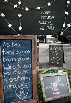 Chalkboard Wedding Ideas — Wedding Ideas, Wedding Trends, and Wedding Galleries this is so simple but cute and chalk board paint is cheap