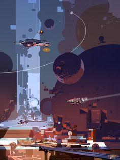 Fresh new work from our friend SPARTH! Keywords: digital sci-fi science fiction concept spaceship fantasy illustrations a. Cyberpunk, Sci Fi Kunst, Science Fiction Kunst, Pixel Art Gif, New Retro Wave, Sci Fi Environment, 8bit Art, Spaceship Art, Futuristic Art