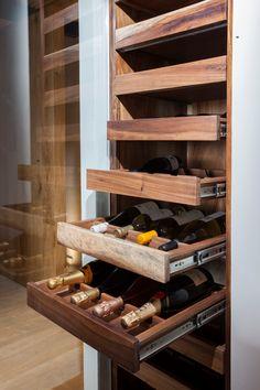 Drawers instead of shelves- Gavetas ao invés de prateleiras Drawers instead of shelves - Merci Store, Whiskey Room, Wine Rack Design, Wine Rack Storage, Wine Racks, Home Wine Cellars, Wine Shelves, Wine Wall, Wine Cabinets