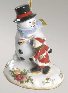 Snowmen Musical Ornament in the Old Country Roses pattern by Royal Albert China
