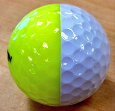"""June 27, 2013: This is the half TourYellow and half PureWhite ball ever made, according to Srixon Golf (@SrixonGolf) about this sphere with a split personality. """"#ItsReal,"""" they promised, but not for sale.."""
