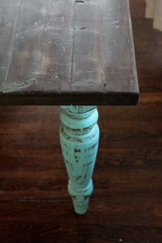 Turquoise Farm Table by urbantiquity on Etsy, $899.00