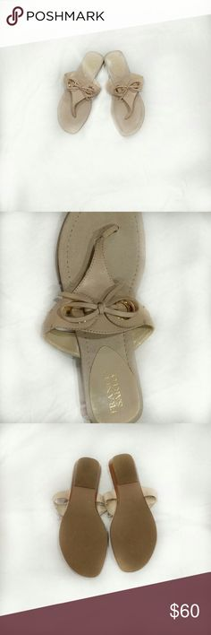 """Franco Sarto. Thing Leather Sandals - light beige color -2 gold circle embellishments and a bow on each shoe  - slip ones -3/4"""" stack wedge - faux suede lining Franco Sarto Shoes Sandals"""